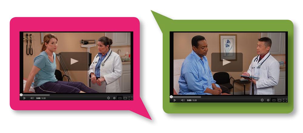 Video screenshots of doctors speaking with patients.