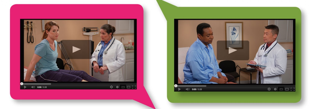 Video screenshots of doctors speaking with patients.