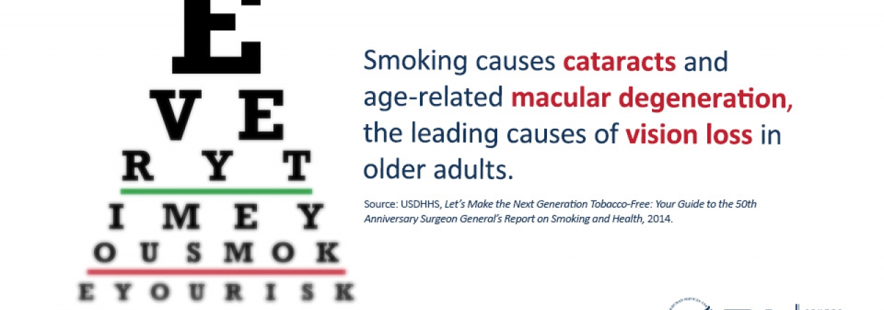 An eye chart with overlay text -- Smoking causes cataracts and age-related macular degeneration the leading causes of vision-loss in older adults.