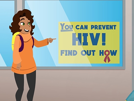 "Illustration of two teens on an urban sidewalk pointing at a sign in a storefront that says ""you can prevent HIV."""