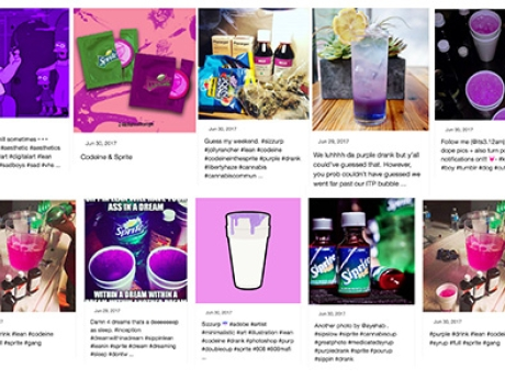 Collage of images of purple beverages.
